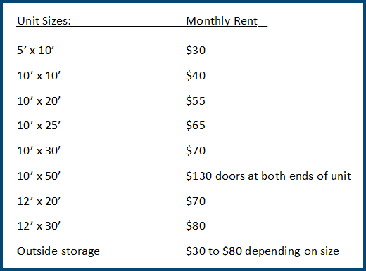 Sky View Storage unit sizes and rates